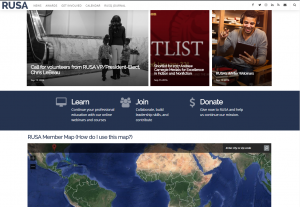 image of RUSA's new homepage including images of news items and a map